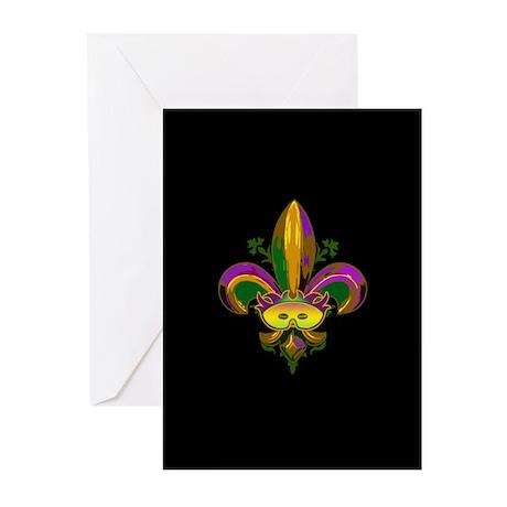 Masked Fleur de lis Greeting Cards (Pk of 10)