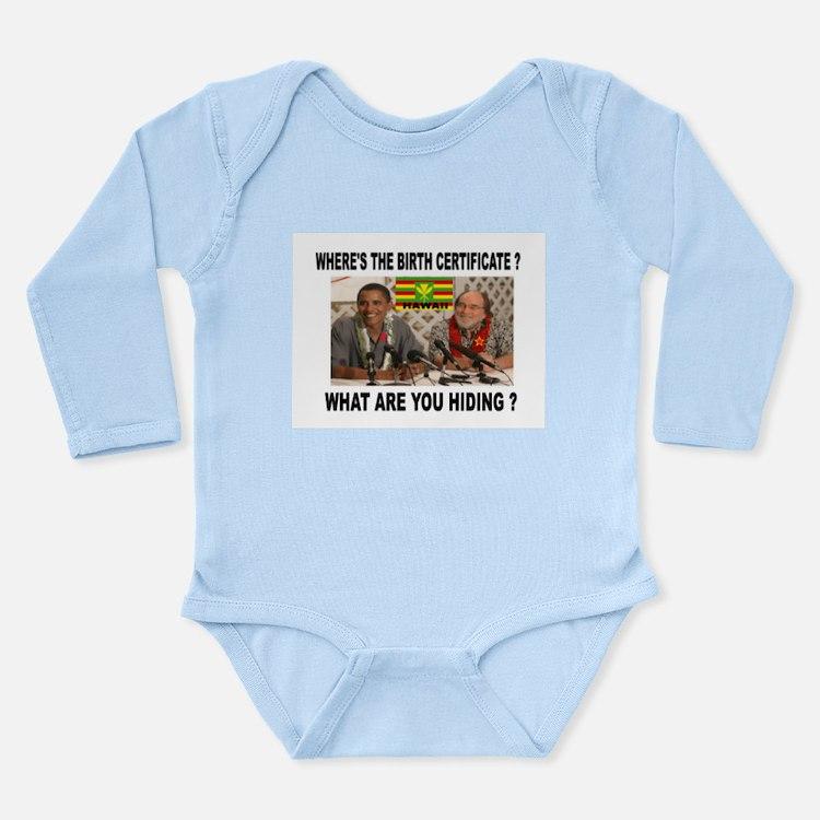 WHERE'S THE CERTIFICATE? Long Sleeve Infant Bodysu