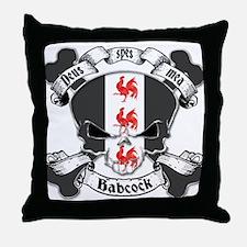 Babcock Family Crest Skull Throw Pillow