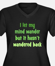 Wandering Mind Women's Plus Size V-Neck Dark T-Shi