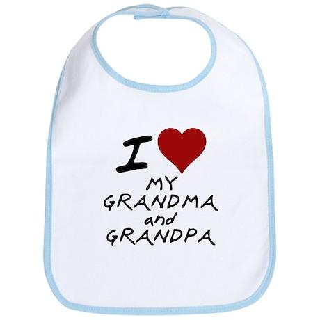 i heart my grandma and grandp Bib