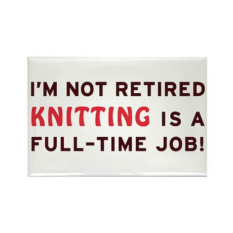 Retired Knitting Gag Gift Rectangle Magnet (10 pac