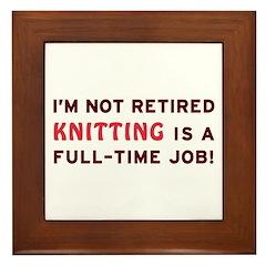 Retired Knitting Gag Gift Framed Tile