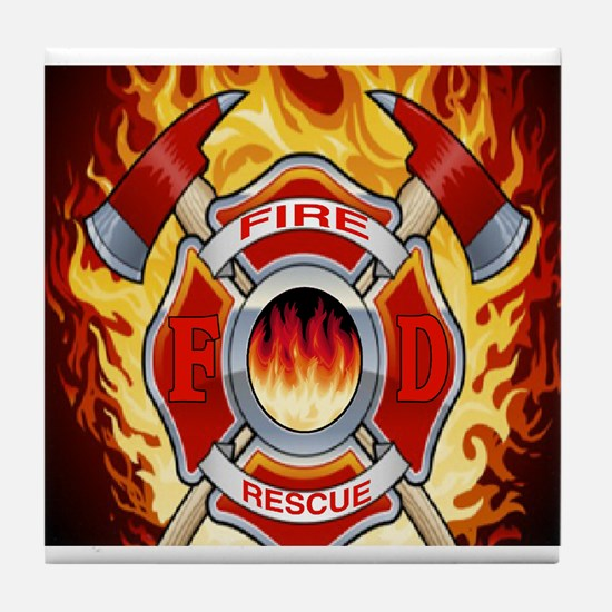 FLAMING FIRE RESCUE Tile Coaster