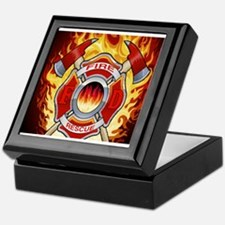 FLAMING FIRE RESCUE Keepsake Box