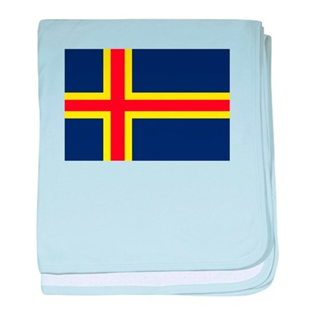 Aland Islands Country Flag baby blanket