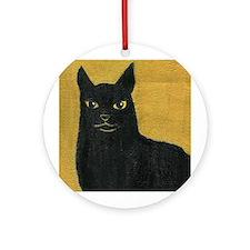 Black cat  Keepsake (Round)