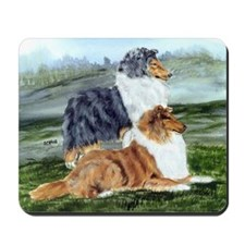 Rough Collie Pair w Blue Mousepad