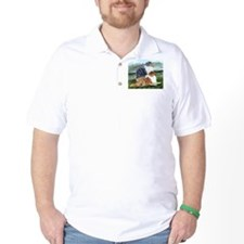 Rough Collie Pair w Blue T-Shirt