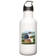 Rough Collie Pair w Blue Water Bottle