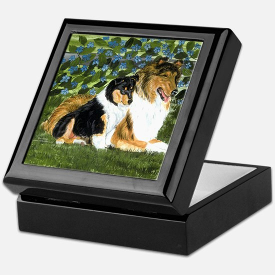 Rough Collie Mom and Pup Keepsake Box