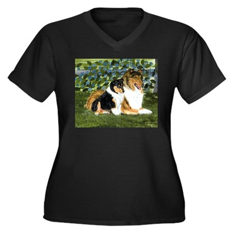 Rough Collie Mom and Pup Women's Plus Size V-Neck