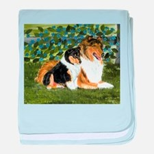 Rough Collie Mom and Pup baby blanket