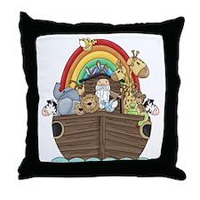 Noah's Ark and Rainbow Throw Pillow