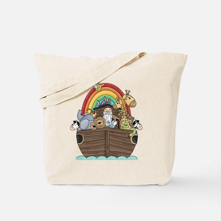 Noah's Ark and Rainbow Tote Bag