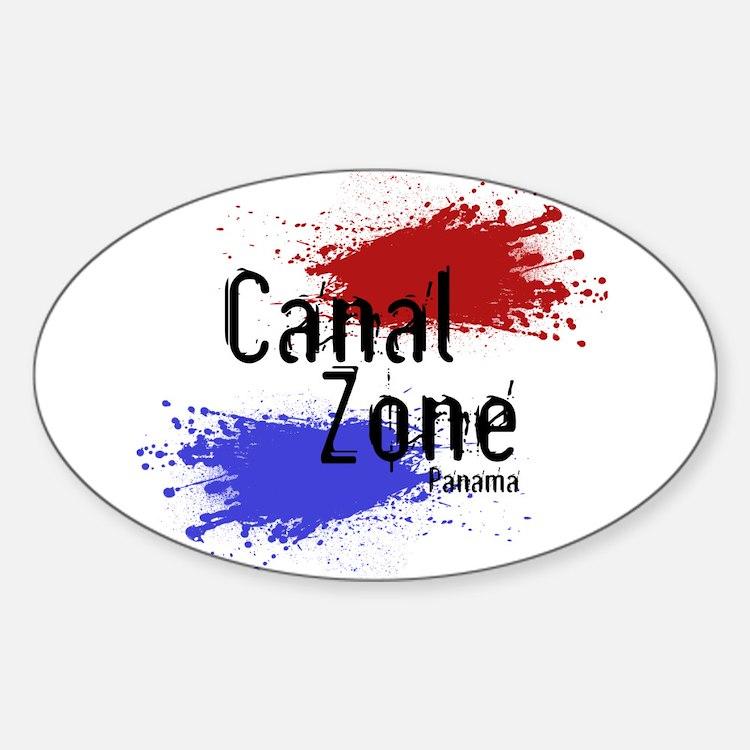 Stylized Panama Canal Zone Sticker (Oval)