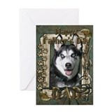 Fathers day husky Greeting Cards