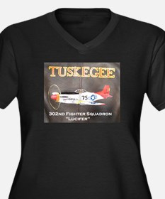 Tuskegee P-51 Women's Plus Size V-Neck Dark T-Shir