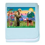 Saint Francis & Airedale baby blanket