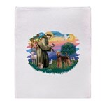 St Francis #2/ Airedale Throw Blanket