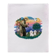St Francis #2/ Bichon (2) Throw Blanket