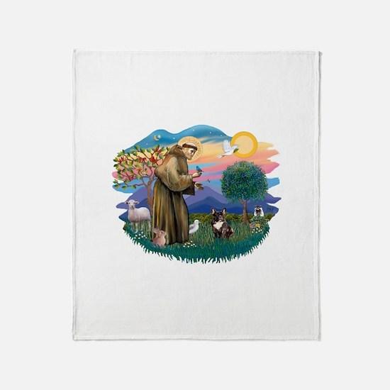 St.Francis #2/ Fr Bulldog (br Throw Blanket