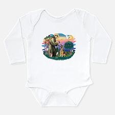 St.Francis #2/ Ger Shep (W) Long Sleeve Infant Bod