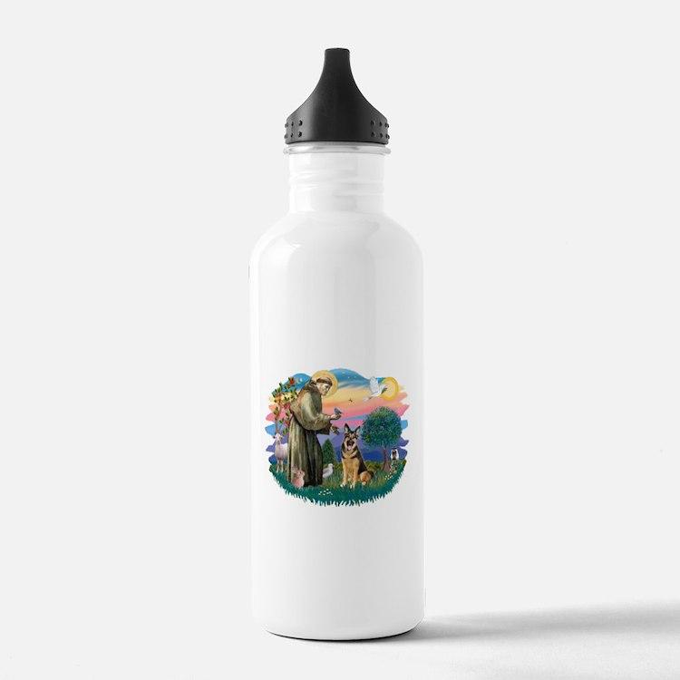 St.Francis #2/ Ger Shep (W) Water Bottle