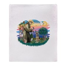 St.Francis #2/ German Shep (P Throw Blanket