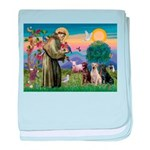 St. Francis/3 Labradors baby blanket