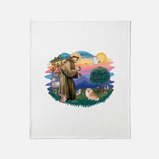 St.Francis #2/ Pomeranian (r) Throw Blanket
