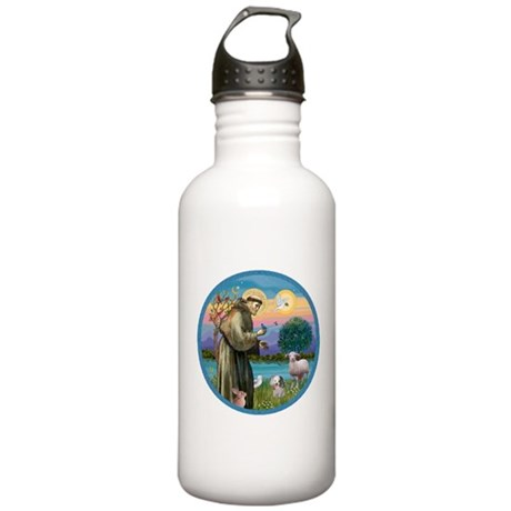 St Francis / Poodle (parti) Stainless Water Bottle