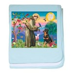 St Francis / Rottweiler baby blanket