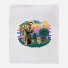 St.Francis #2/ Tibetan Spani Throw Blanket
