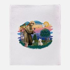 St Francis #2/ Westie Throw Blanket
