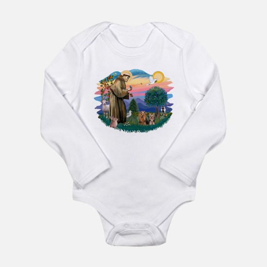 St. Francis / 2 Yorkies Long Sleeve Infant Bodysui