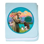 St Francis/3 dogs baby blanket