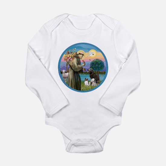 St Francis/3 dogs Long Sleeve Infant Bodysuit