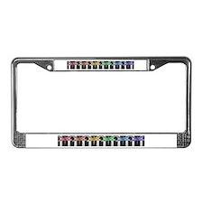 Rainbow dragonfly block print License Plate Frame