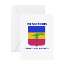 1st Sqdrn - 73rd Cav Regt with Text Greeting Card