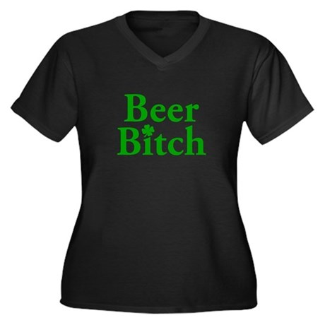Beer Bitch Women's Plus Size V-Neck Dark T-Shirt