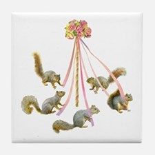 May Day Squirrels Tile Coaster