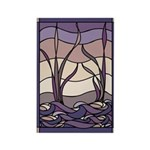 Sunset Marsh Stained Glass Rectangle Magnet