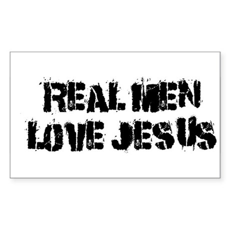 Real Men Love Jesus Rectangle Sticker