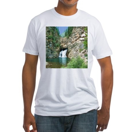 Glacier National Park Waterfall Fitted T-Shirt