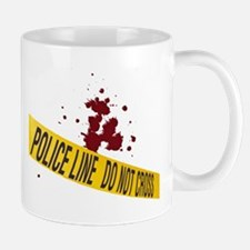 Police line with blood spatte Mug