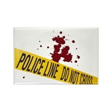 Police line with blood spatte Rectangle Magnet