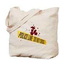 Police line with blood spatte Tote Bag