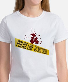 Police line with blood spatte Tee