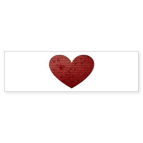Diamond Plate Heart Sticker (Bumper)